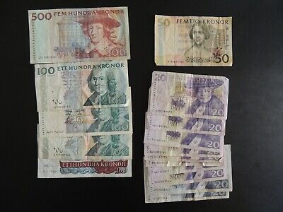 Sweden, Mixed Lot of banknotes. 1150 Kronor Total
