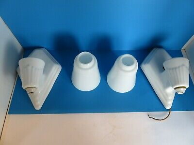 Vintage Art Deco Porcelain Wall Sconces With Glass Shades Very Nice