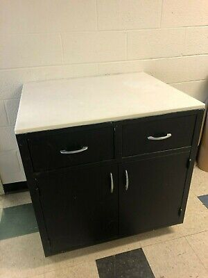 """Black metal cabinet with white top (35""""x36""""x30"""")"""