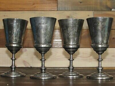 Antique Victorian Set Of 4 Reed & Barton Silverplate Wine Goblets-Cups-# 408