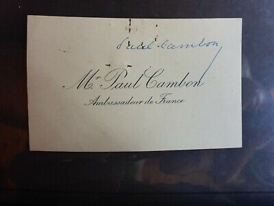 Paul Cambon  Signed  Business Card Famous French Ambassador Diplomat
