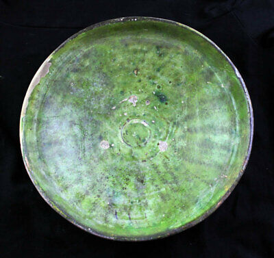 *Sc*Large And Rare Islamic Pottery Dish W Green Glace, 11Th. Cent