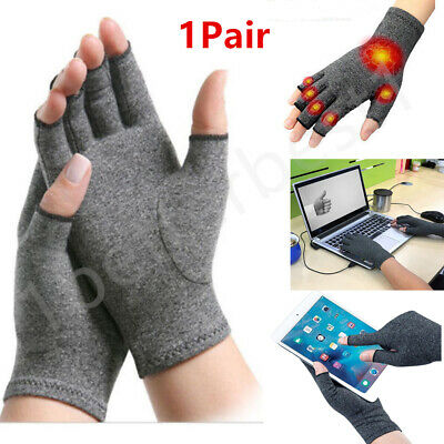 1Pair Anti Arthritis Copper Fingerless gloves compression therapy circulation