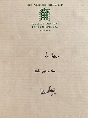 Sir Clement Freud: Broadcaster , Writer , Politician And Chef Signed H/O/C Note