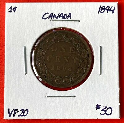 1894 Canada Large One Cent Coin - Very Fine