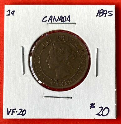 1895 Canada Large One Cent Coin - Very Fine