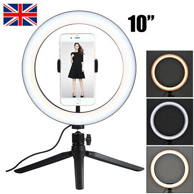10inch Studio LED Ring Light w/ Tripod Stand Dimmable Lamp Camera Photo Video UK