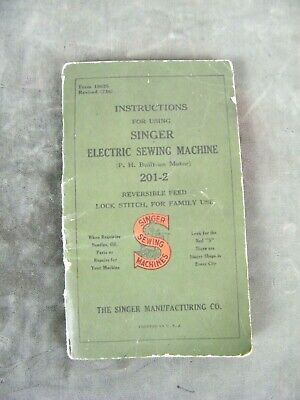 Antique Art Deco 1938 Electric Singer Model 201-2 Sewing Machine - MANUAL