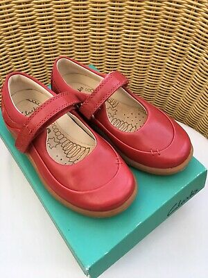 Bnib CLARKS Infant Girls RED leather Classic Mary Jane Shoes 7.5G Wide Width