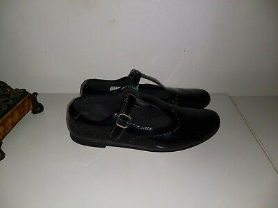 CLARKS GIRLS BLACK PATENT LEATHER SCHOOL SHOES, JUNIOR SIZE 51/2 G UK Scala Seek