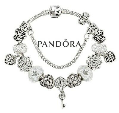 Pandora Charm Bracelet Silver Clasp with Love Wife Mom European Charms