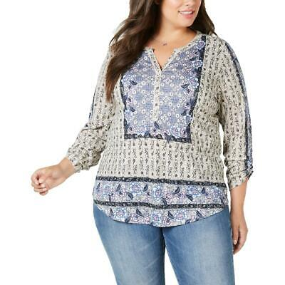 Womens Button-Down Mixed Print Peasant Top Shirt Plus BHFO 9679 Style /& Co