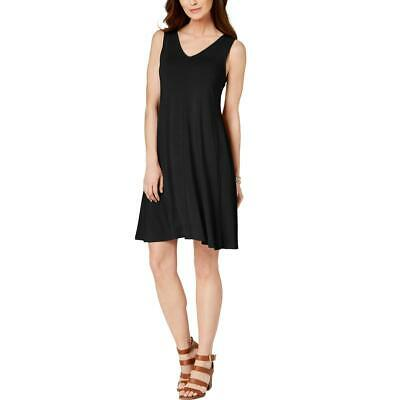 Style & Co. Womens Black Knit Criss-Cross Back Shift Casual Dress M BHFO 3462