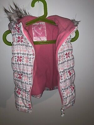 Girls Hooded Padded Gillet Pink Age 3-4
