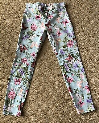 Childrens Place Girls Floral Butterfly Spring Jeans Jeggings Pants Size 16 EUC