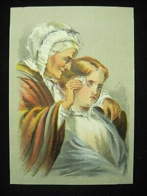 Victorian Trade Card Dr. Isaac Thompson's Eye Water Old Woman Treating Girl B5