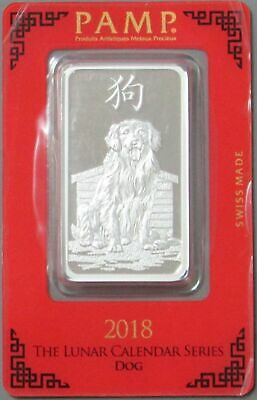 2018 1 Oz Silver Pamp Suisse Lunar Year Of The Dog Bar Sealed