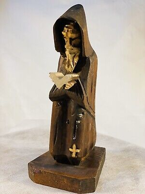 Vintage Hand Carved Wooden Priest Religious Old Man Reading Bible.