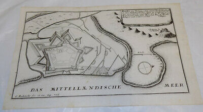 c1653 Map/FORTIFIED TOWN ON THE MEDITERRANEAN NEAR TRINITY CASTLE, SPAIN