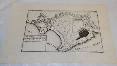 c1653 Map/FORTIFIED TOWN OF COLLIOURE, FRANCE, ON THE MEDITERRANEAN