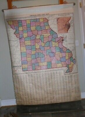 Vintage MISSOURI, A J NYSTROM, School Pull Down Map, 1940s?