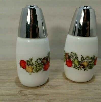 Salt and Pepper Milkglass and Chrome Shakers Spice of Life #7 Westinghouse Gemco