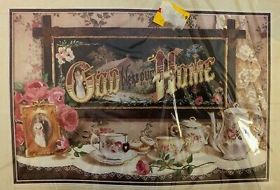 Dimensions Crewel Kit - God Bless Our Home - New, Vintage, Tea, Roses