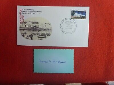 Tassie Former Senator Francis Mcmanus Hand Signed Card  Q& First Day Cover