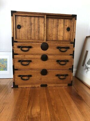 Antique Japanese Mizuya Cupboard Chest Cabinet Chestnut & Sugi Wood 1920s  #217