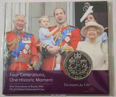 2018 Four Generations Of Royalty UK BU £5 Five Pound Coin Royal Mint Pack
