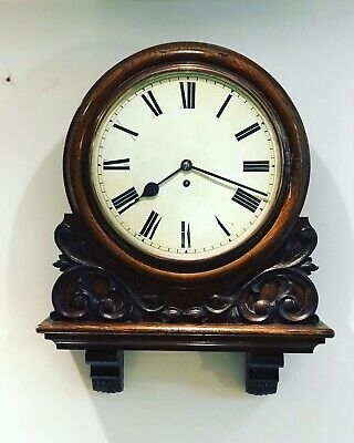 Victorian Oak Fusee Dial Clock, Large In Size, Ticking Away With Key & Pendulum