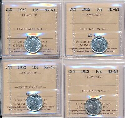 Lot of 4 Canada ICCS MS-63 Silver 10-cent Coins; Dimes