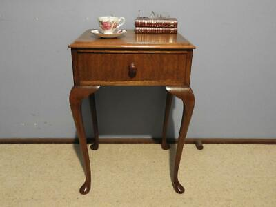 Vintage French Provincial Queen Anne Bedside Cabinet Side Lamp Table Drawer 1940