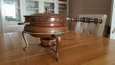 Vintage 3 pc Copper Chafing Dish Food Warmer Double Boiler Fondue Pan w/ Stand