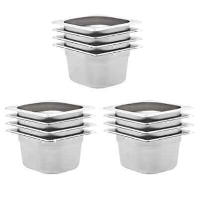 vidaXL 12x Pans GN 1/6 100mm Stainless Steel Kitchen Stackable Tray Container#