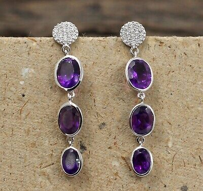 Faceted Round Purple Amethyst Earring Solid 925 Sterling Silver jewelry KE3338