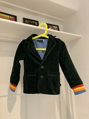 Cute Little Bird - Jools Oliver boys or Girls Velvet Dark Green Jacket 3-4 Years