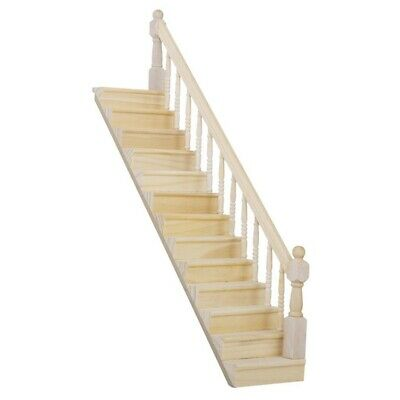1:12 Dolls House Wooden Staircase with Right Handrail Pre-Assembled 45-Degr V6D5