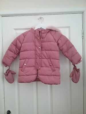 Marks and spencer Kids Girls Pink Puffer Coat with Gloves Age 2/3Years New