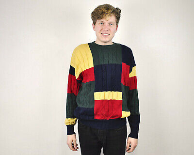 NAUTICA Vtg Mens L Colourful Check Sweater Knitted Crew Neck Pullover Jumper Top