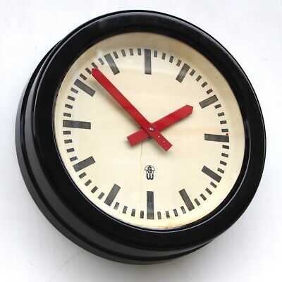 LARGE 1960s  East German Midcentury Vintage Retro Industrial Factory Wall Clock