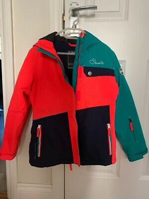 Dare 2b Girls Coral, Turquoise and Navy Ski Jacket Age 9-10 Excellent condition