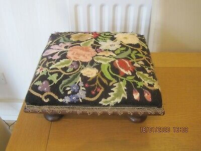 Antique Victorian Bun Feet Footstool  Floral Tapestry