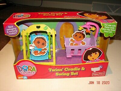 NICK JR. DORA THE EXPLORER Twins' Cradle & Swing Set FISHER PRICE Big Sister MIB
