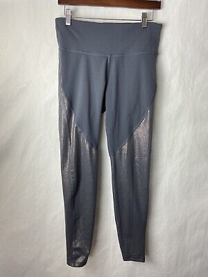 old navy active leggings large Womens High Rise Gray Silver Sparkle Go Dry Euc