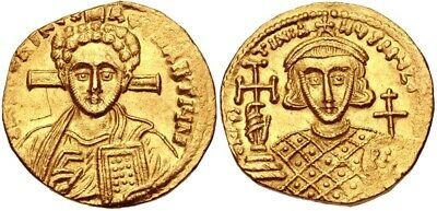 JUSTINIAN II, 2ND REIGN, 705-711 AD. (AV Solidus 4.33g 18mm 6h)  MINT STATE