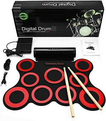 Digital Electric Drum Kit - 9 Pads Portable Electronic drum Built-in Speakers