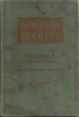 Armstrong Siddeley 17Hp Standard Chassis Orig. 1939 Factory Maintenance Manual