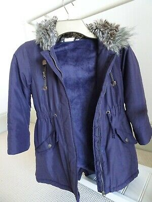 John Lewis Winter Coat, Purple, Age 8, with fur lined hood, zip and velcro