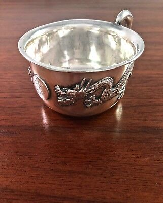Exciting Chinese Export Sterling Silver Baby Cup Dragon Motif